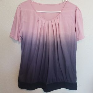 Pink and grey ombre summer blouse/short sleeve top